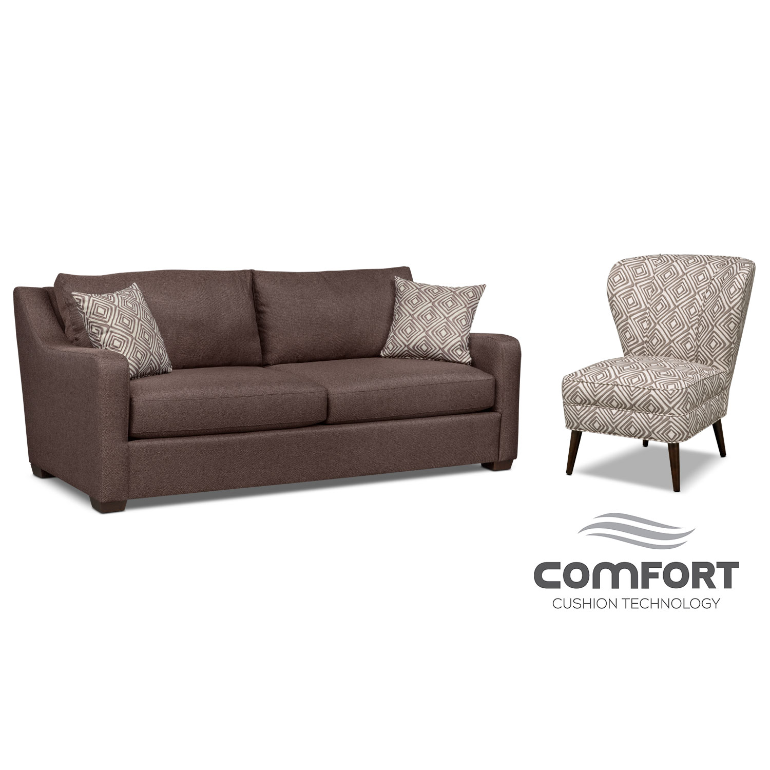 Living Room Furniture - Jules Comfort Sofa and Accent Chair Set - Brown