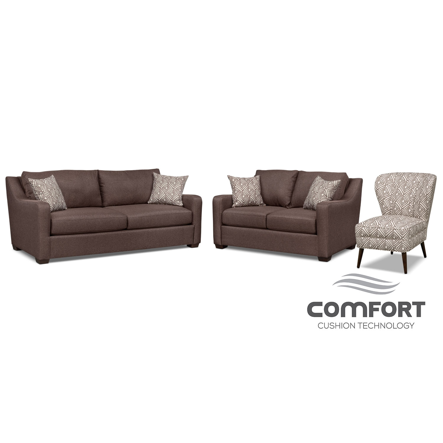 Living Room Furniture - Jules Comfort Sofa, Loveseat and Accent Chair Set - Brown