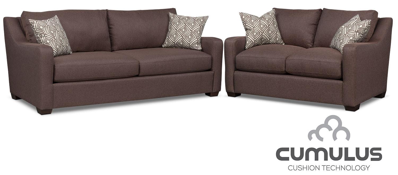 Living Room Furniture - Jules Cumulus Sofa and Loveseat Set - Brown