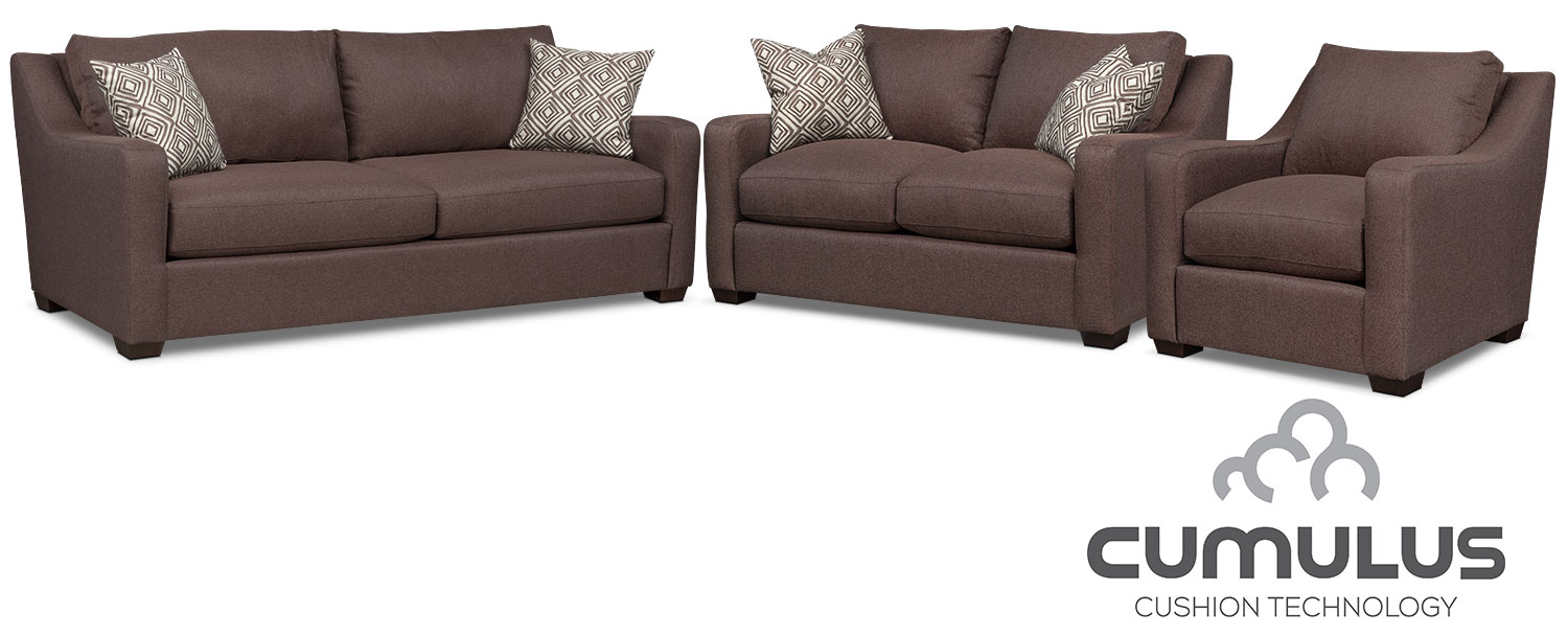 Living Room Furniture - Jules Cumulus Sofa, Loveseat and Chair Set - Brown