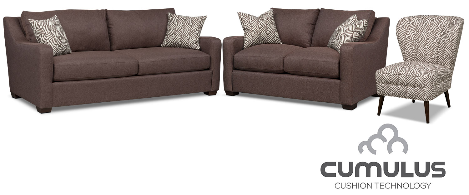 Living Room Furniture - Jules Cumulus Sofa, Loveseat and Accent Chair - Brown