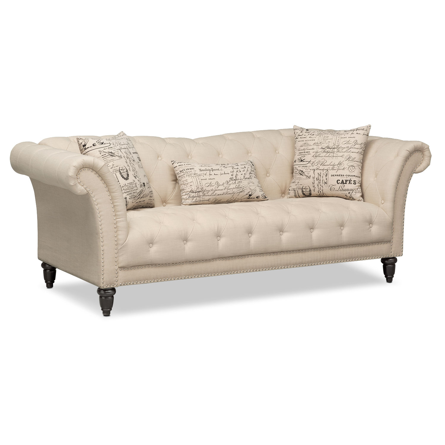 Marisol sofa beige american signature furniture Loveseats with console