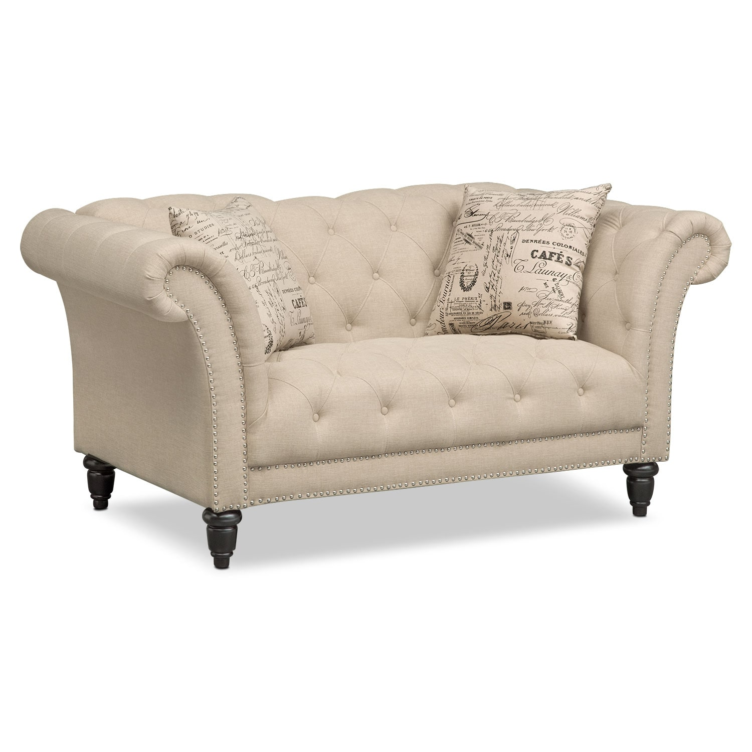 Marisol loveseat beige american signature furniture for Couch and loveseat