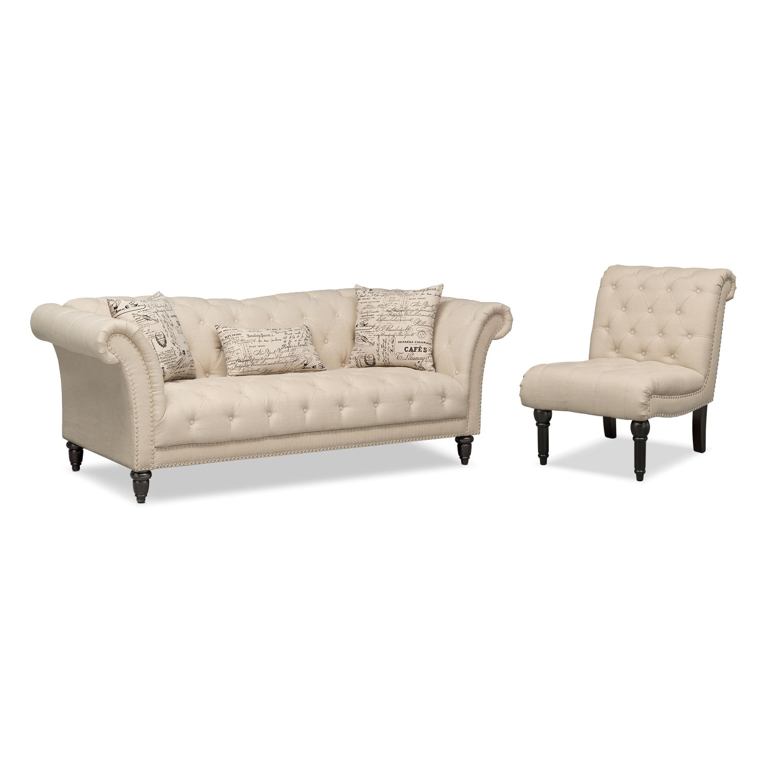 Living Room Furniture - Marisol Sofa and Armless Chair - Beige