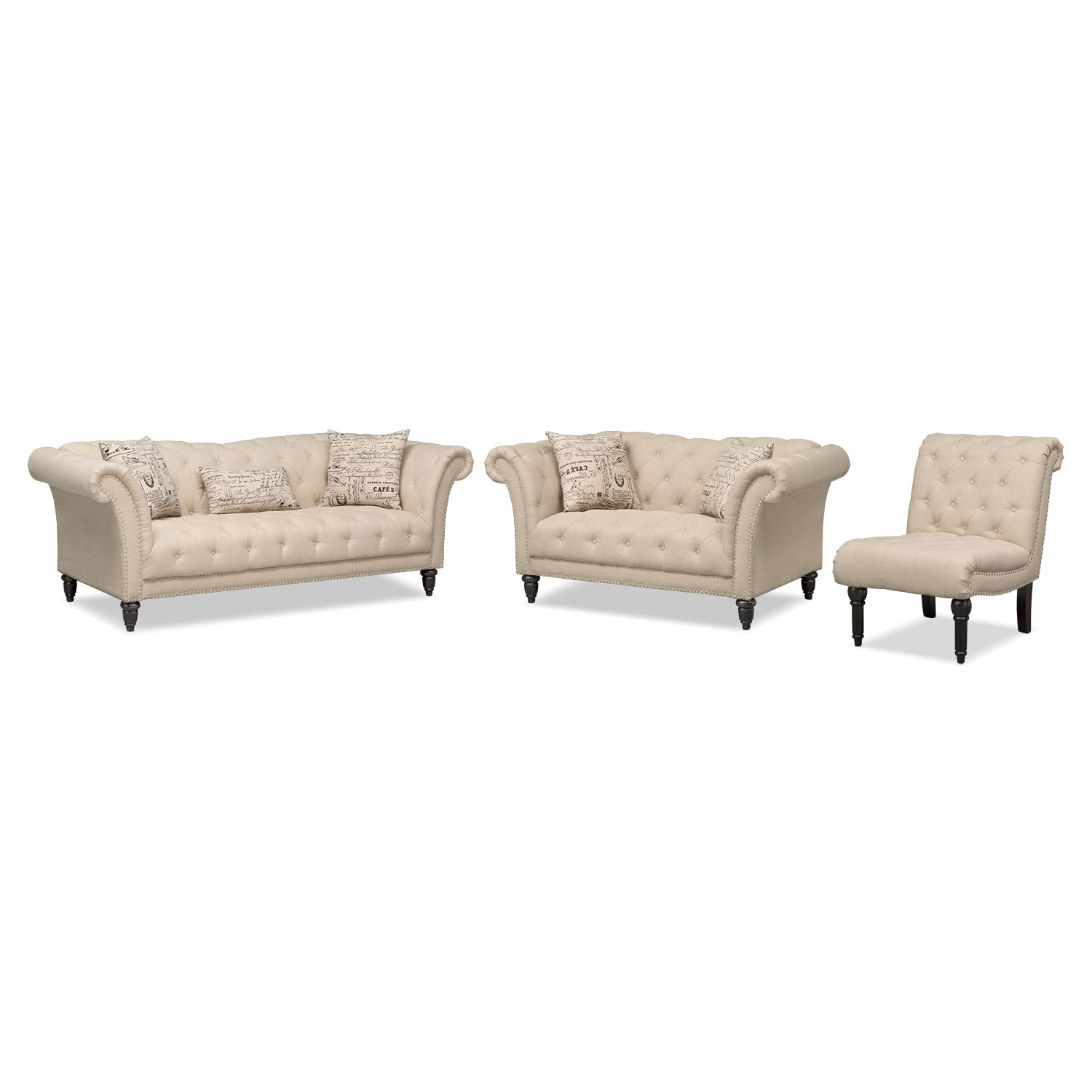Living Room Furniture - Marisol Sofa, Loveseat and Armless Chair Set - Beige