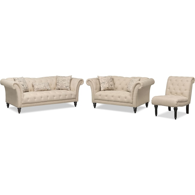 Living Room Furniture - Marisol Sofa, Loveseat and Armless Chair Set