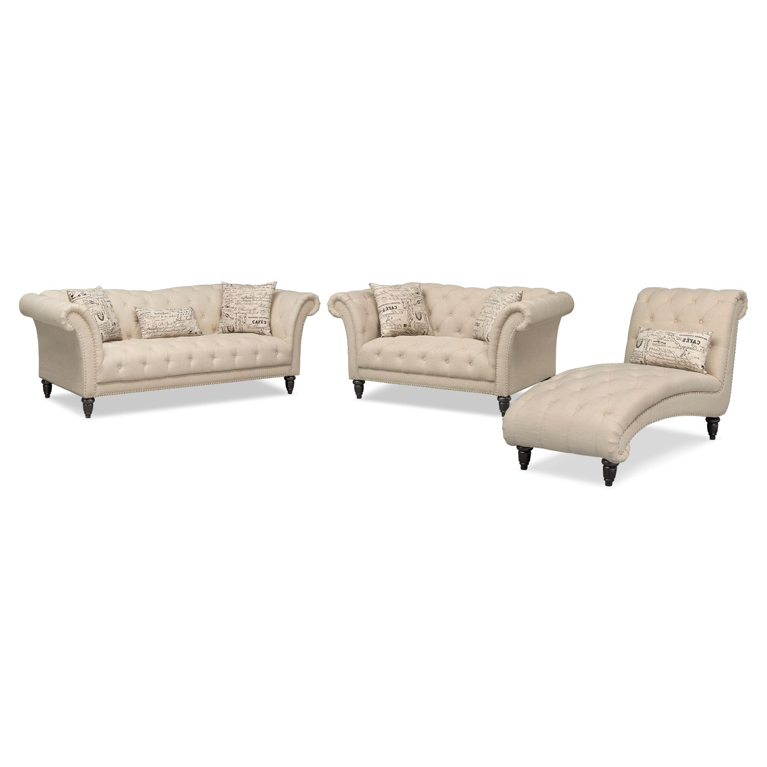 Living Room Furniture - Marisol Sofa, Loveseat and Chaise Set - Beige