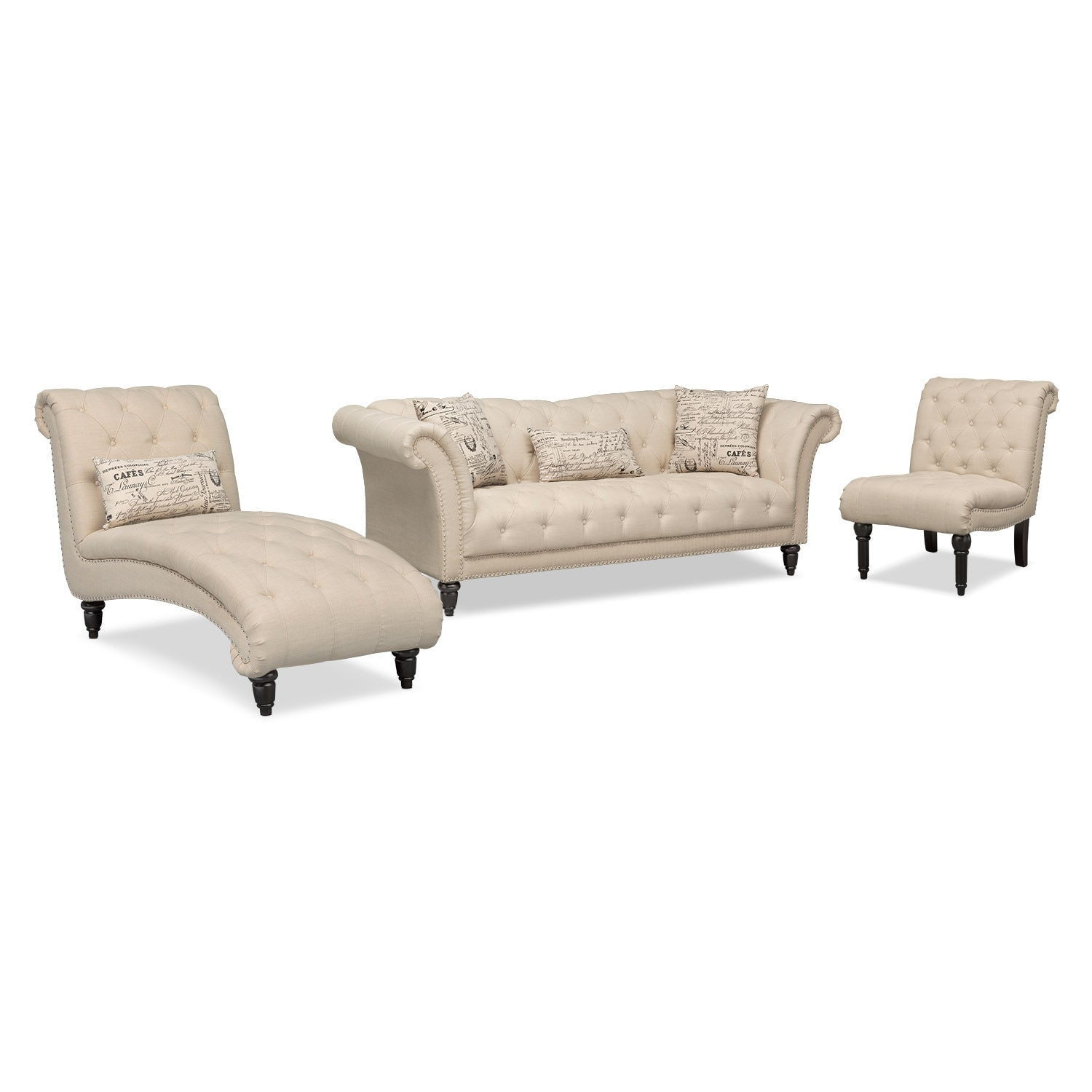 Awesome Marisol Sofa, Chaise And Armless Chair   Beige