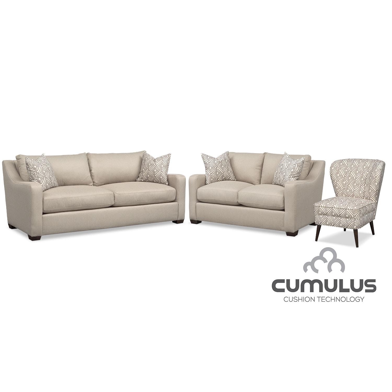 Living Room Furniture - Jules Cumulus Sofa, Loveseat and Accent Chair Set - Cream