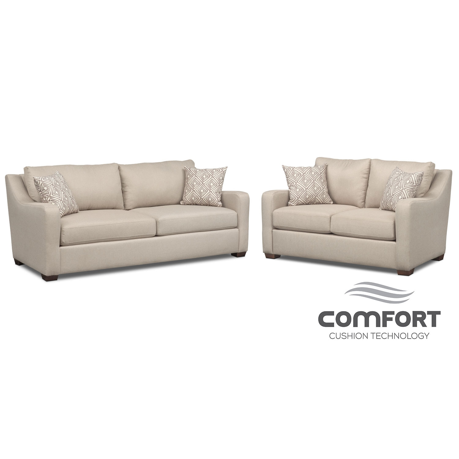 Living Room Furniture - Jules Comfort Sofa and Loveseat Set - Cream