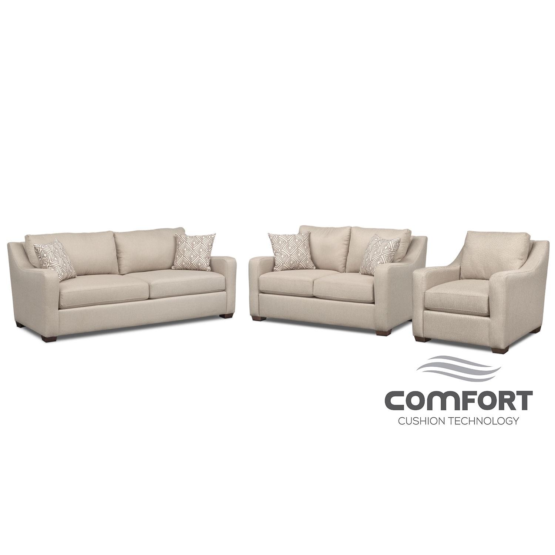 Jules Comfort Sofa, Loveseat and Chair Set - Cream