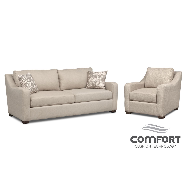 Living Room Furniture - Jules Comfort Sofa and Chair Set - Cream