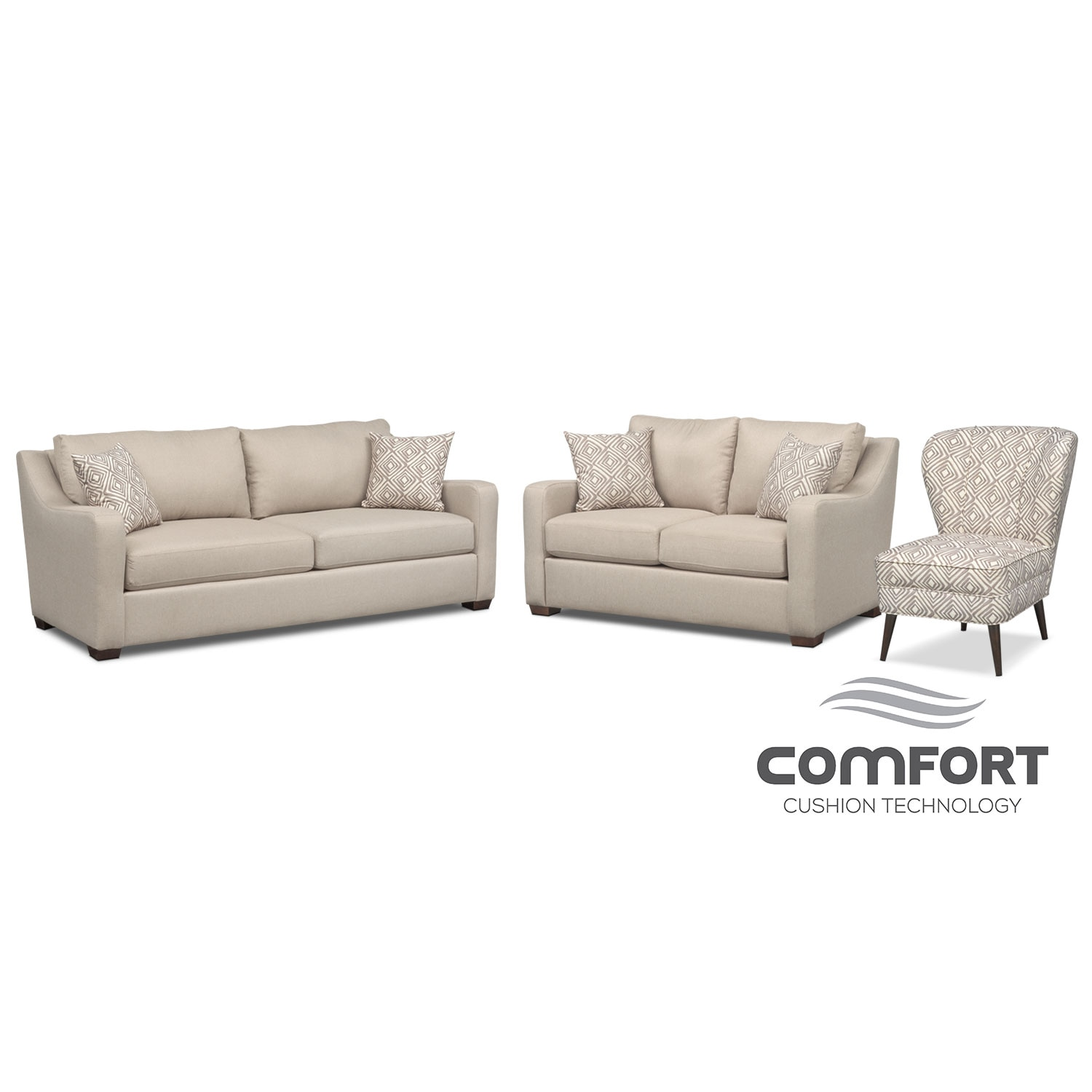 Living Room Furniture - Jules Comfort Sofa, Loveseat and Accent Chair Set - Cream
