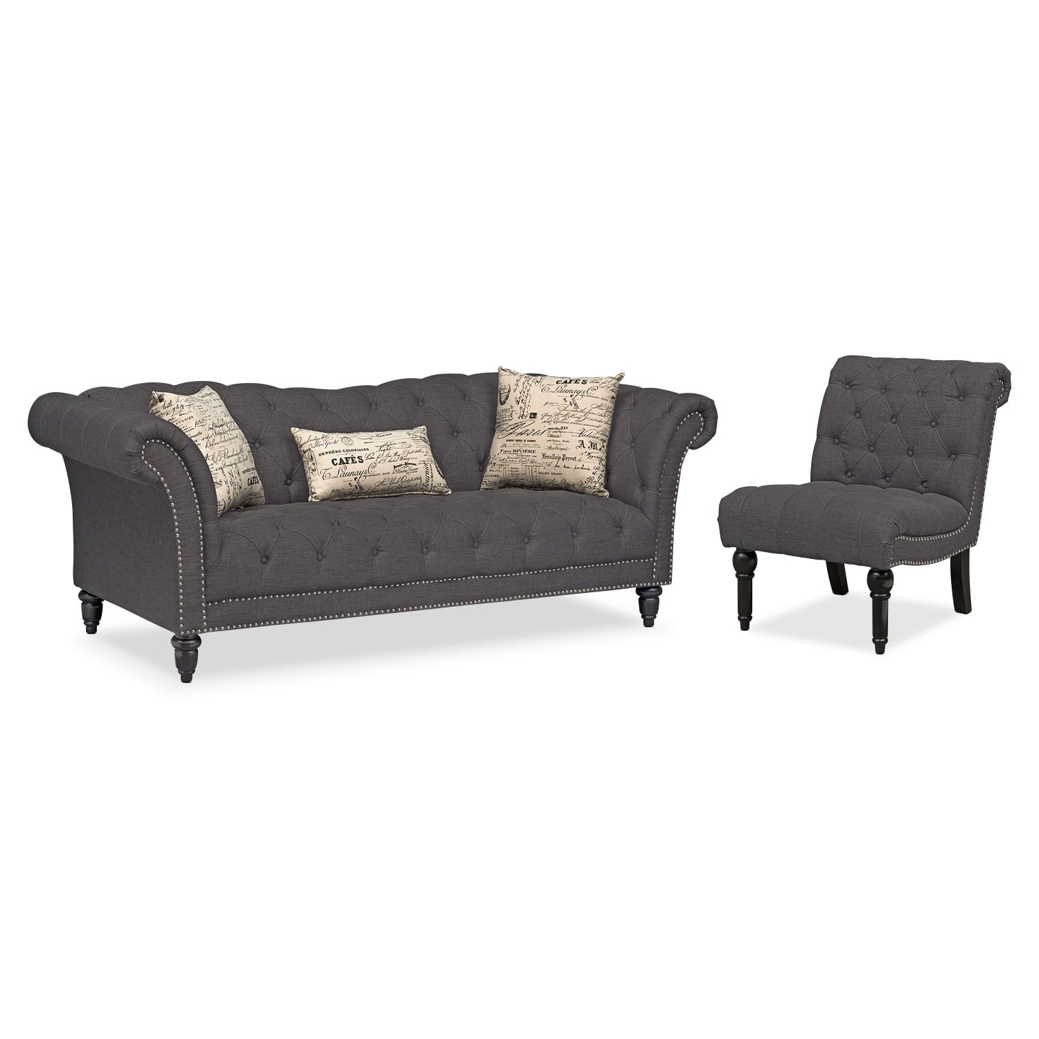 Marisol Sofa and Armless Chair - Charcoal