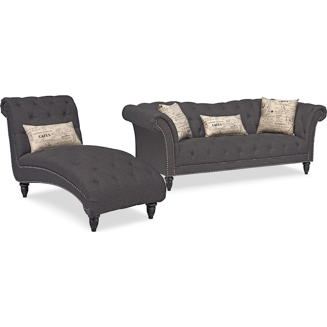 Living Room Furniture - Marisol Sofa and Chaise Set - Charcoal