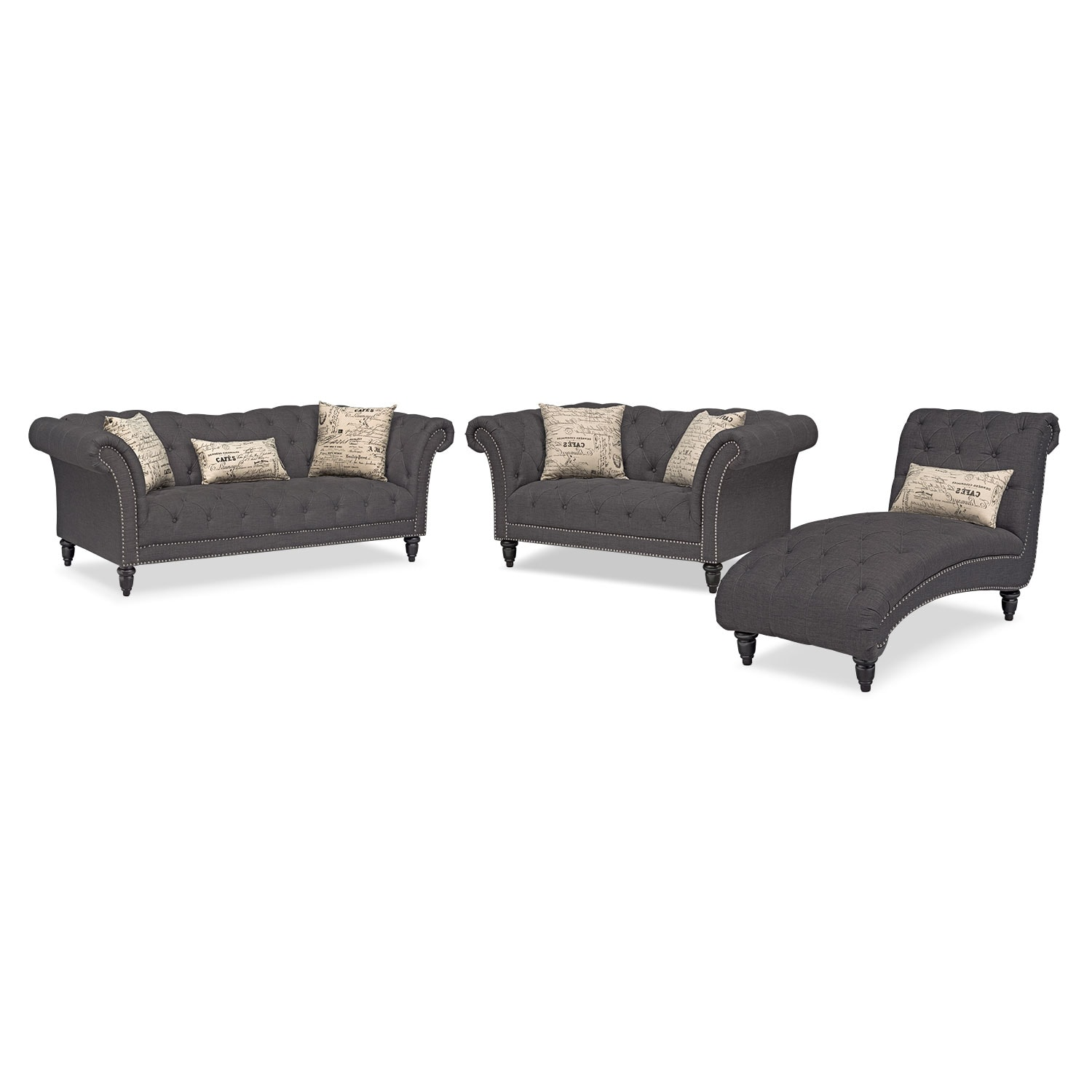 Marisol sofa loveseat and chaise set charcoal for American signature furniture commercial chaise