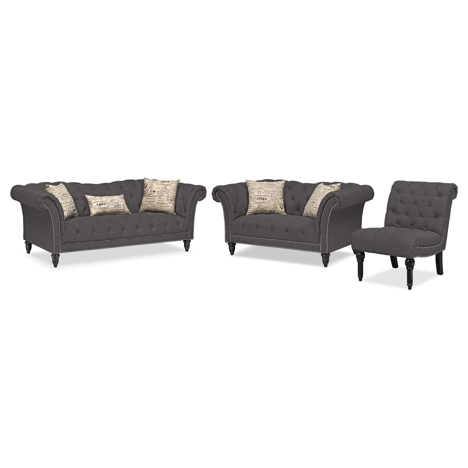Living Room Furniture - Marisol Sofa, Loveseat and Armless Chair Set - Charcoal