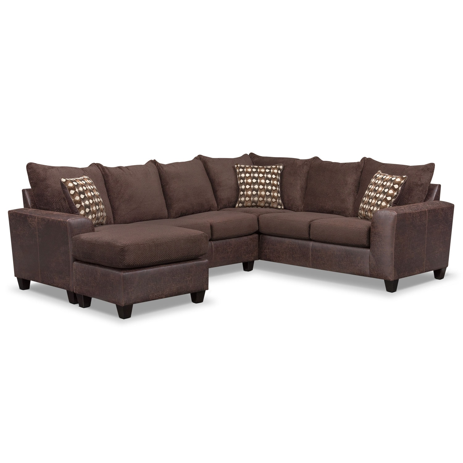 Stanton 3 piece living room set brown - Brando 3 Piece Sectional With Modular Chaise Chocolate