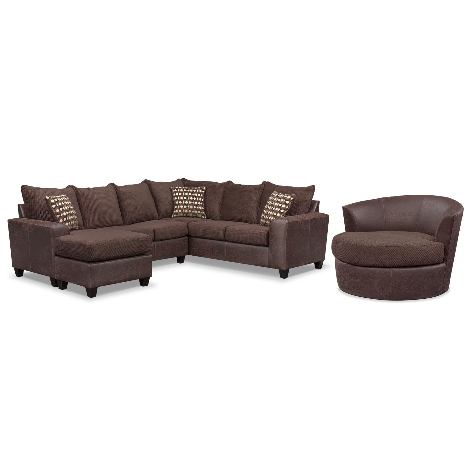 Living Room Furniture - Brando 3-Piece Sectional w/ Chaise and Swivel Chair Set - Chocolate