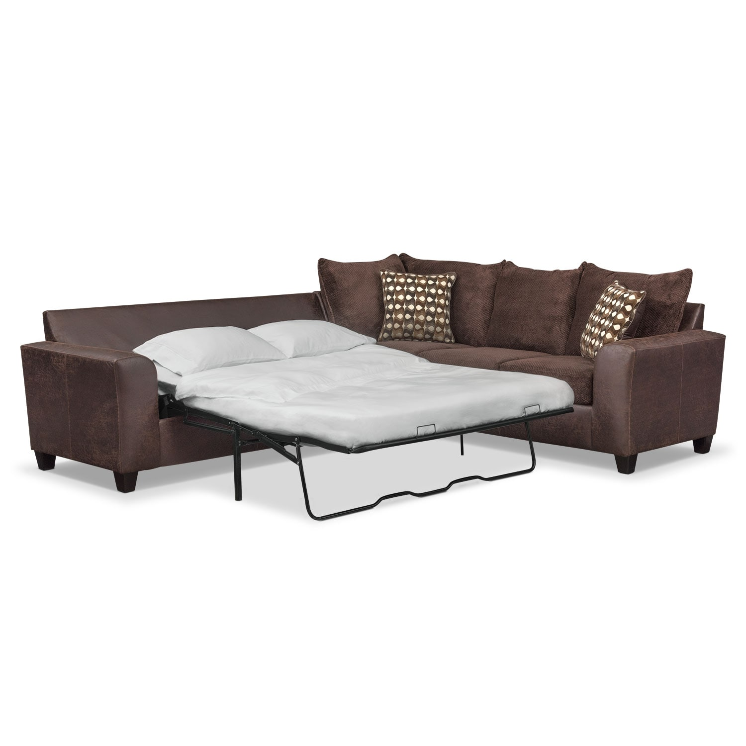 Living Room Furniture - Brando 2-Piece Memory Foam Sleeper Sectional - Chocolate