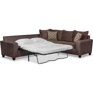 Brando 2-Piece Memory Foam Sleeper Sectional - Chocolate