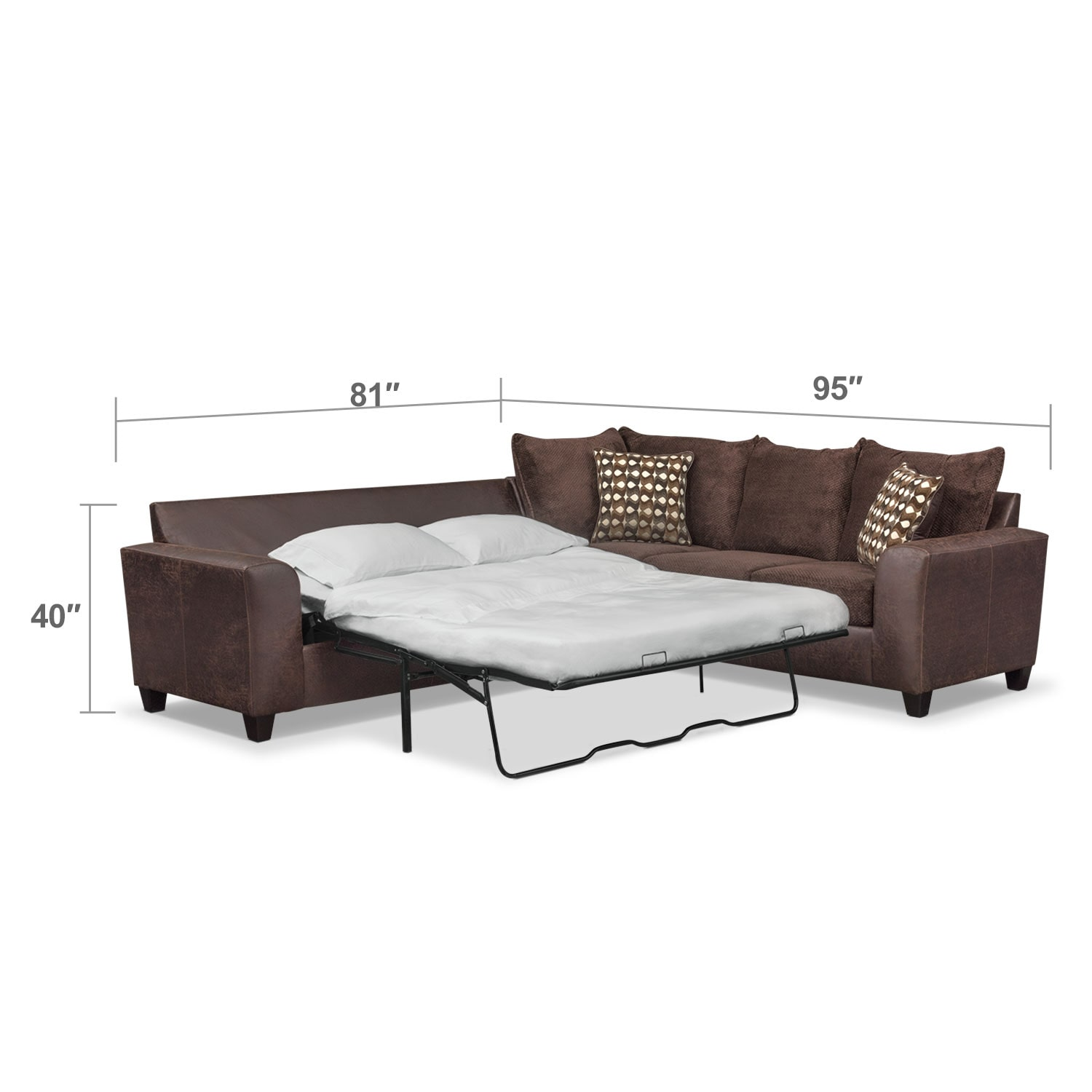 Brando 2 Piece Innerspring Sleeper Sectional Chocolate