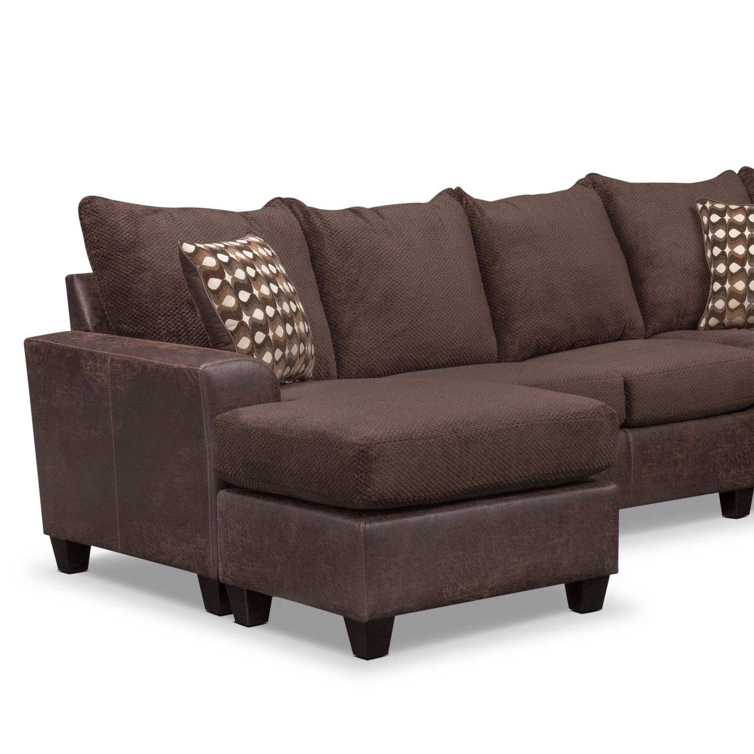 Brando 3 piece sectional with modular chaise chocolate for Signature furniture
