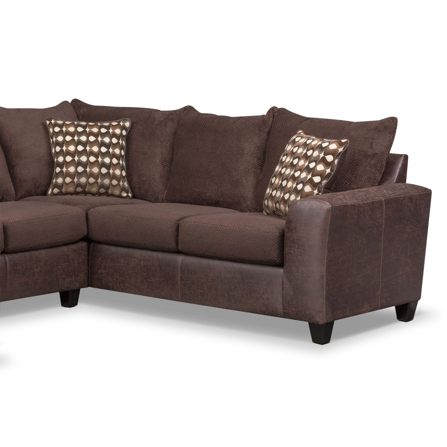 Brando 3 piece sectional with modular chaise chocolate for American signature furniture commercial chaise