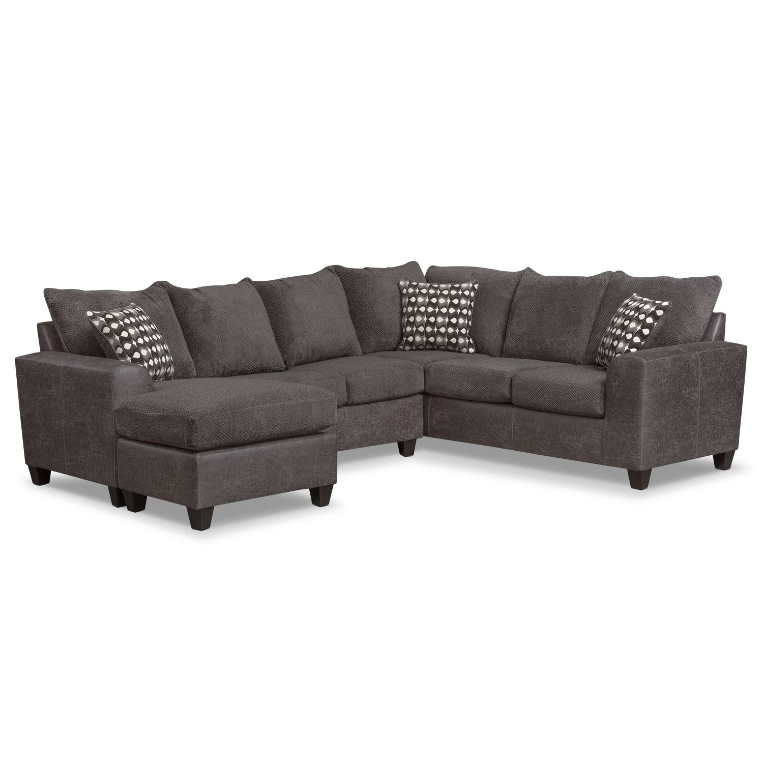 Wonderful American Signature Furniture Sectionals #2: Brando 3-Piece Sectional With Modular Chaise - Smoke