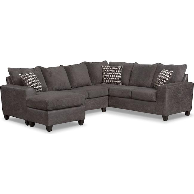 Living Room Furniture - Brando 3-Piece Sectional with Modular Chaise - Smoke