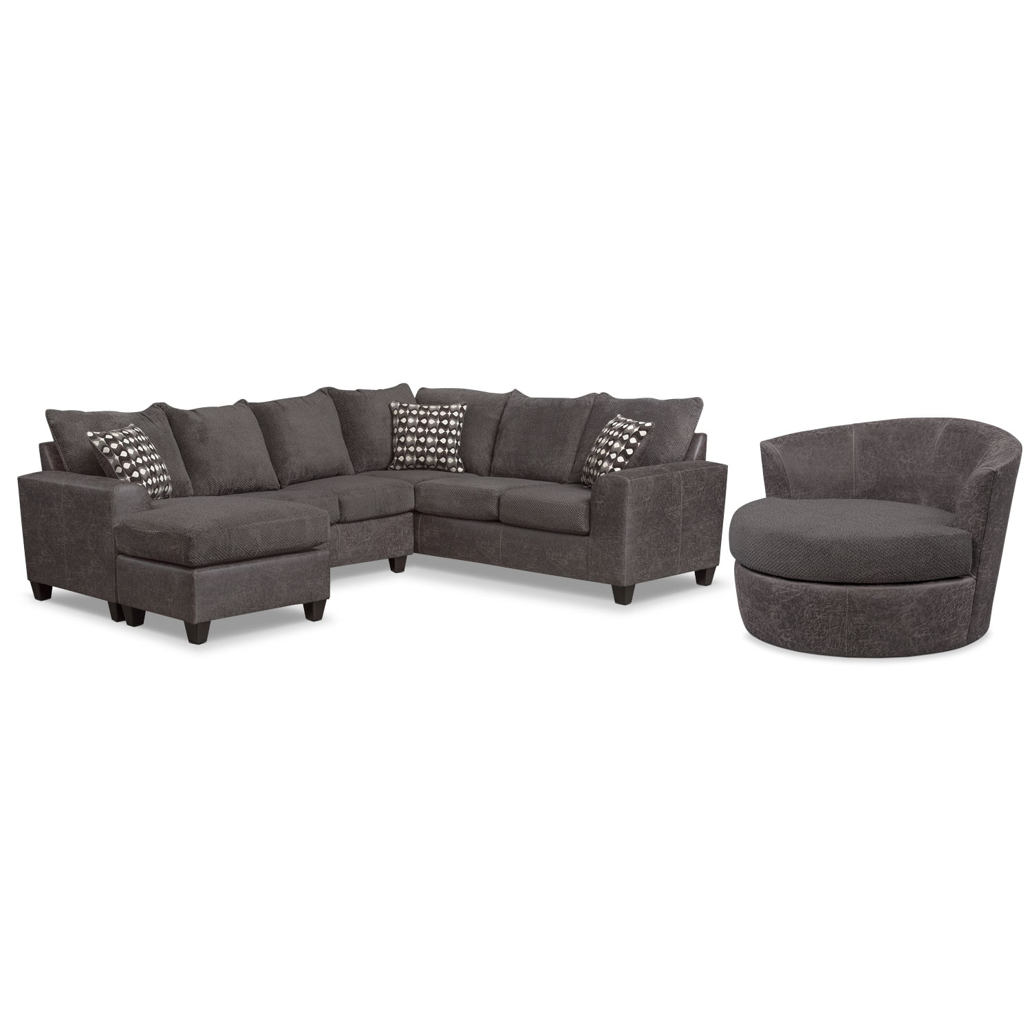 Living Room Furniture - Brando 3-Piece Sectional with Chaise and Swivel Chair Set - Smoke