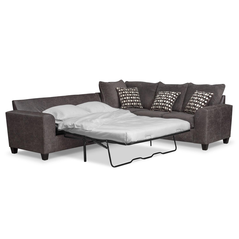Living Room Furniture - Brando 3-Piece Innerspring Sleeper Sectional - Smoke
