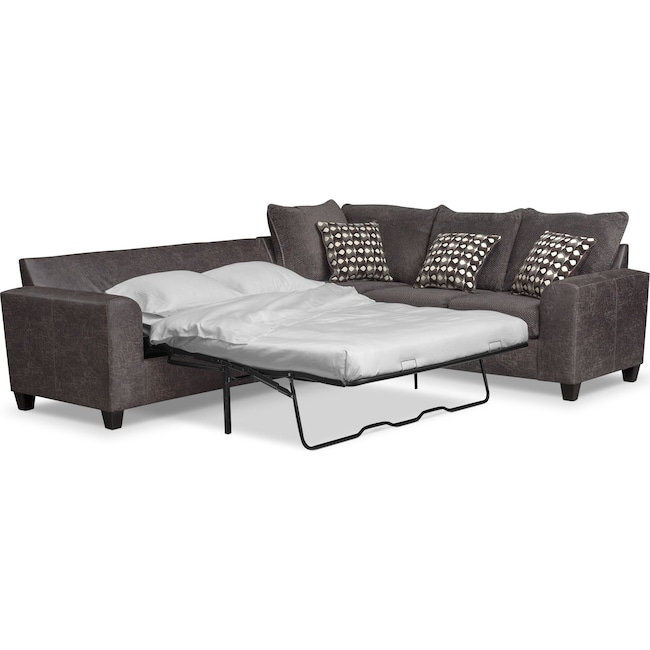 Living Room Furniture - Brando 3-Piece Innerspring Sleeper Sectional - Smoke