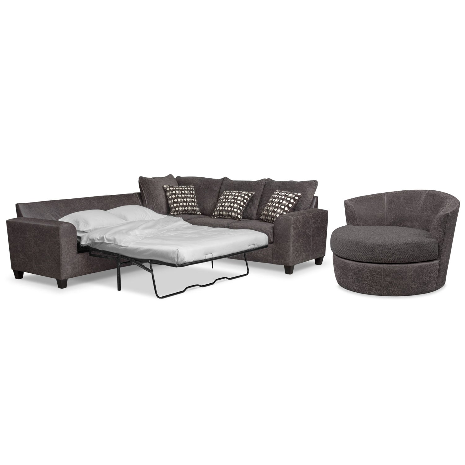 Living Room Furniture - Brando 2-Piece Innerspring Sleeper Sectional and Swivel Chair Set - Smoke