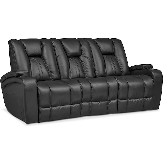 Living Room Furniture - Pulsar Dual Power Reclining Sofa - Black