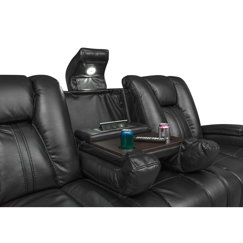 Pulsar Dual Power Reclining Sofa And Power Recliner Set Black  ~ Motorized Reclining Sofa