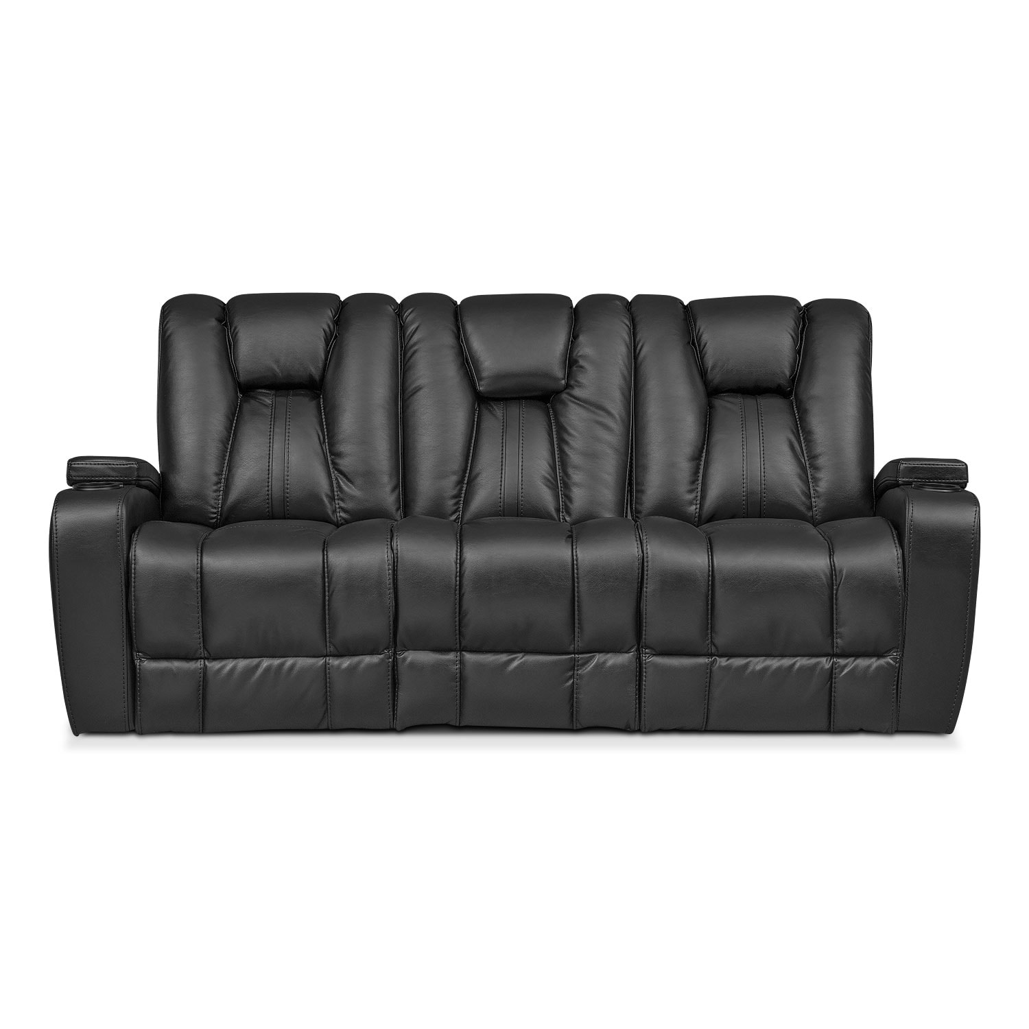 Pulsar Dual Power Reclining Sofa Black American