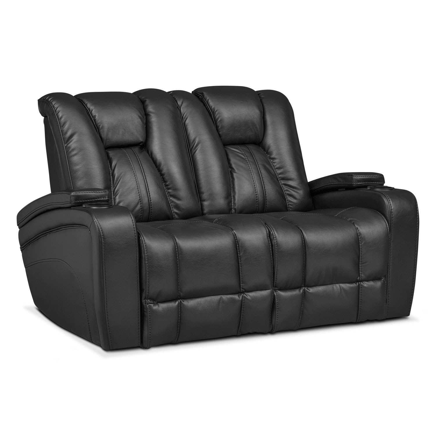 Living Room Furniture - Pulsar Dual Power Reclining Loveseat - Black