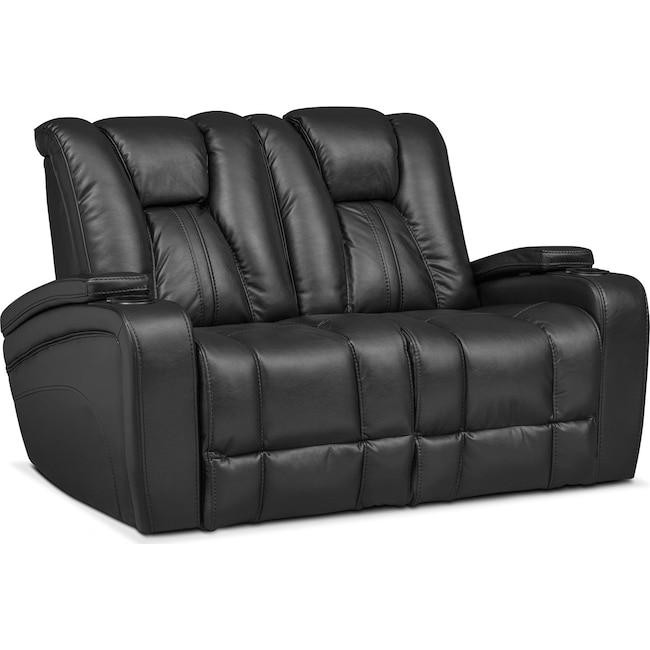 Living Room Furniture - Pulsar Dual Power Reclining Loveseat - Black