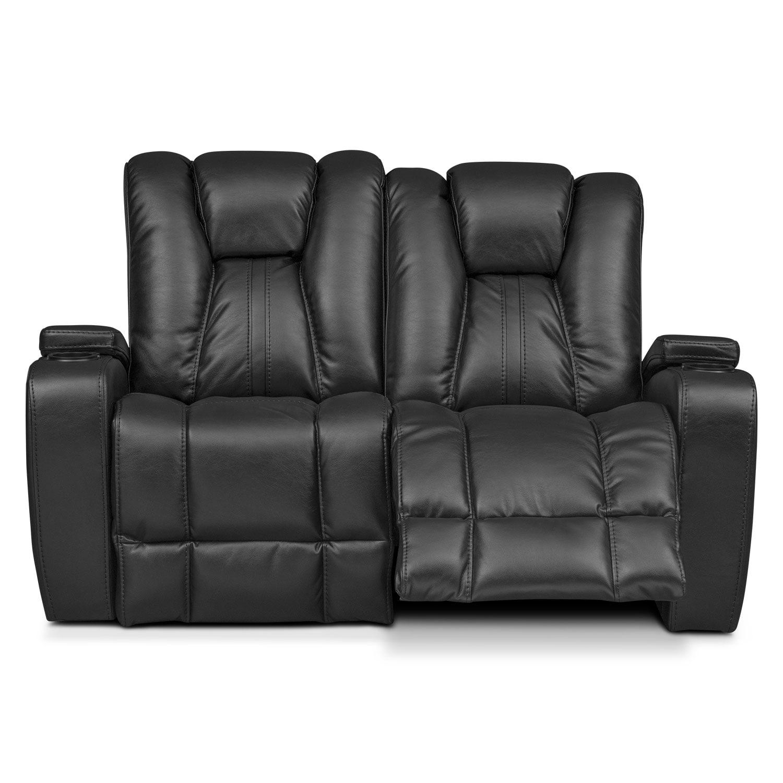 Pulsar Dual Power Reclining Loveseat Black American Signature Furniture