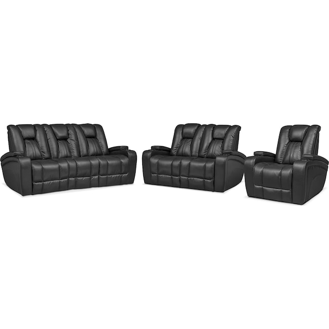 Living Room Furniture - Pulsar Power Reclining Sofa, Power Reclining Loveseat and Power Recliner Set - Black