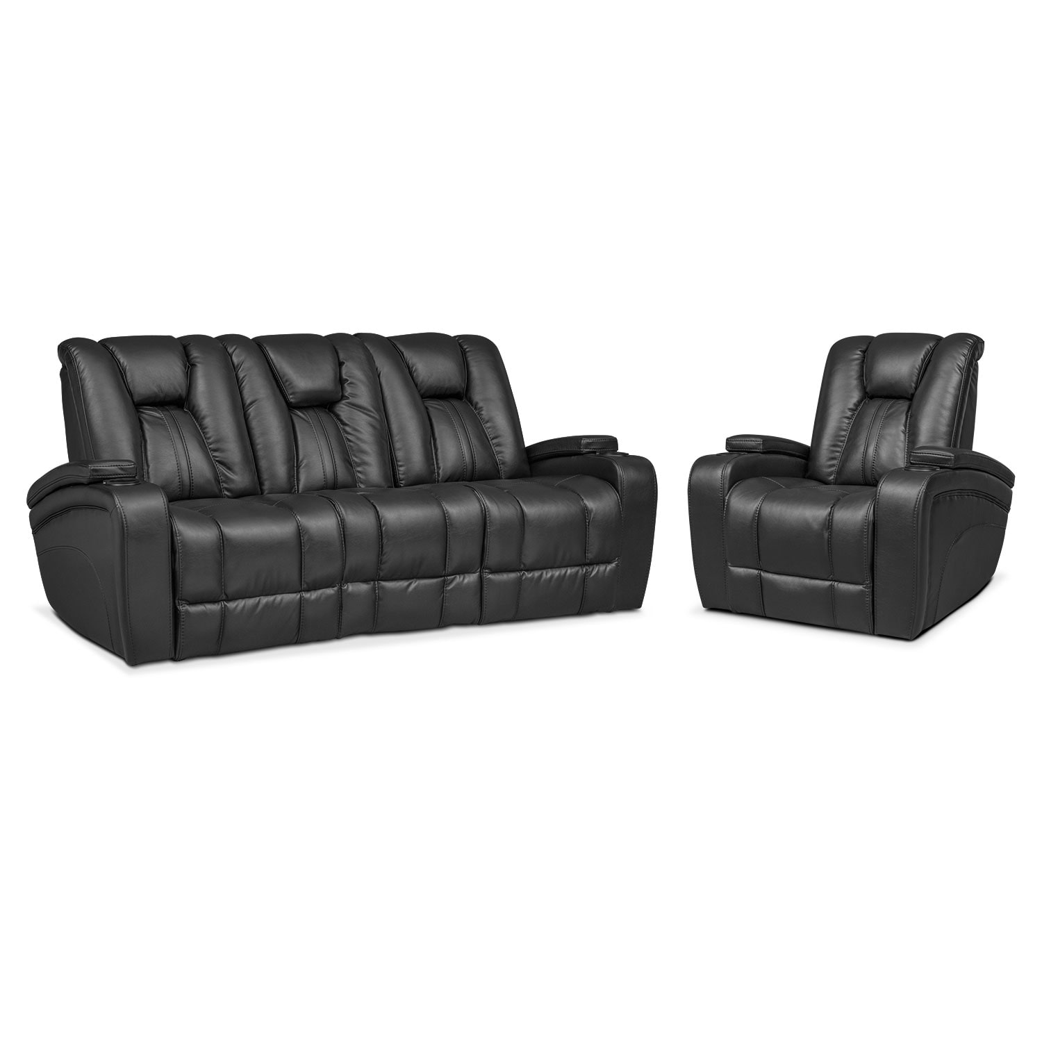 Pulsar Dual Power Reclining Sofa And Power Recliner Set Black  ~ Leather Dual Reclining Sofa