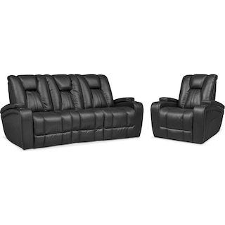 Pulsar Dual Power Reclining Sofa and Power Recliner Set - Black