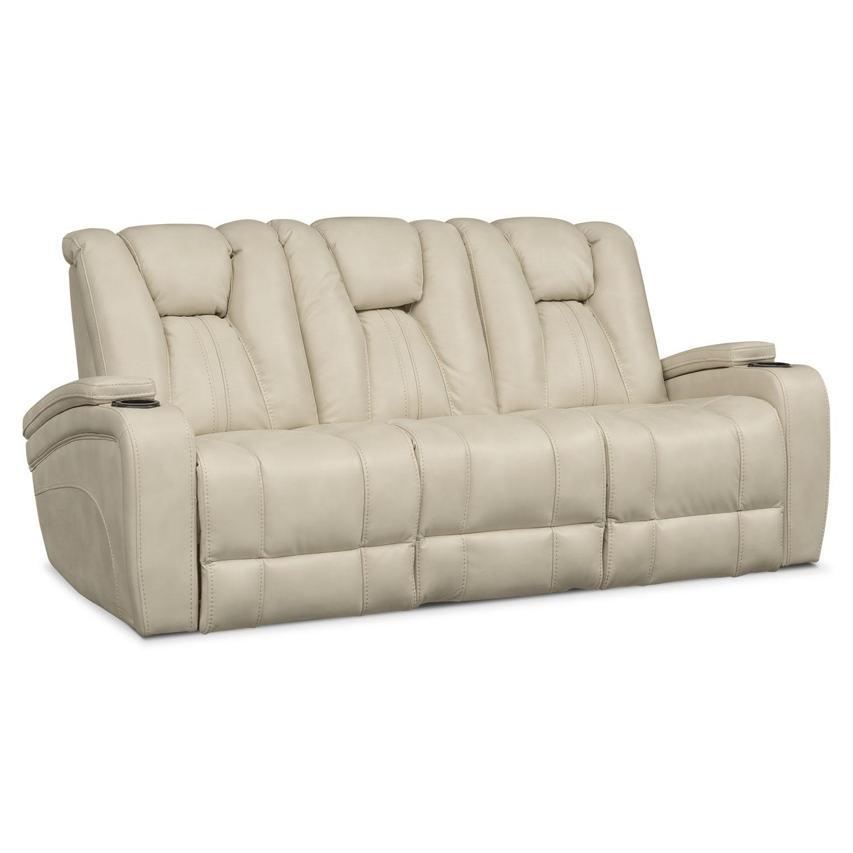 Living Room Furniture - Pulsar Dual Power Reclining Sofa - Cream