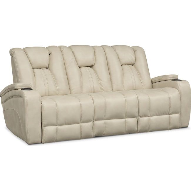 Living Room Furniture - Pulsar Dual Power Reclining Sofa - Cream