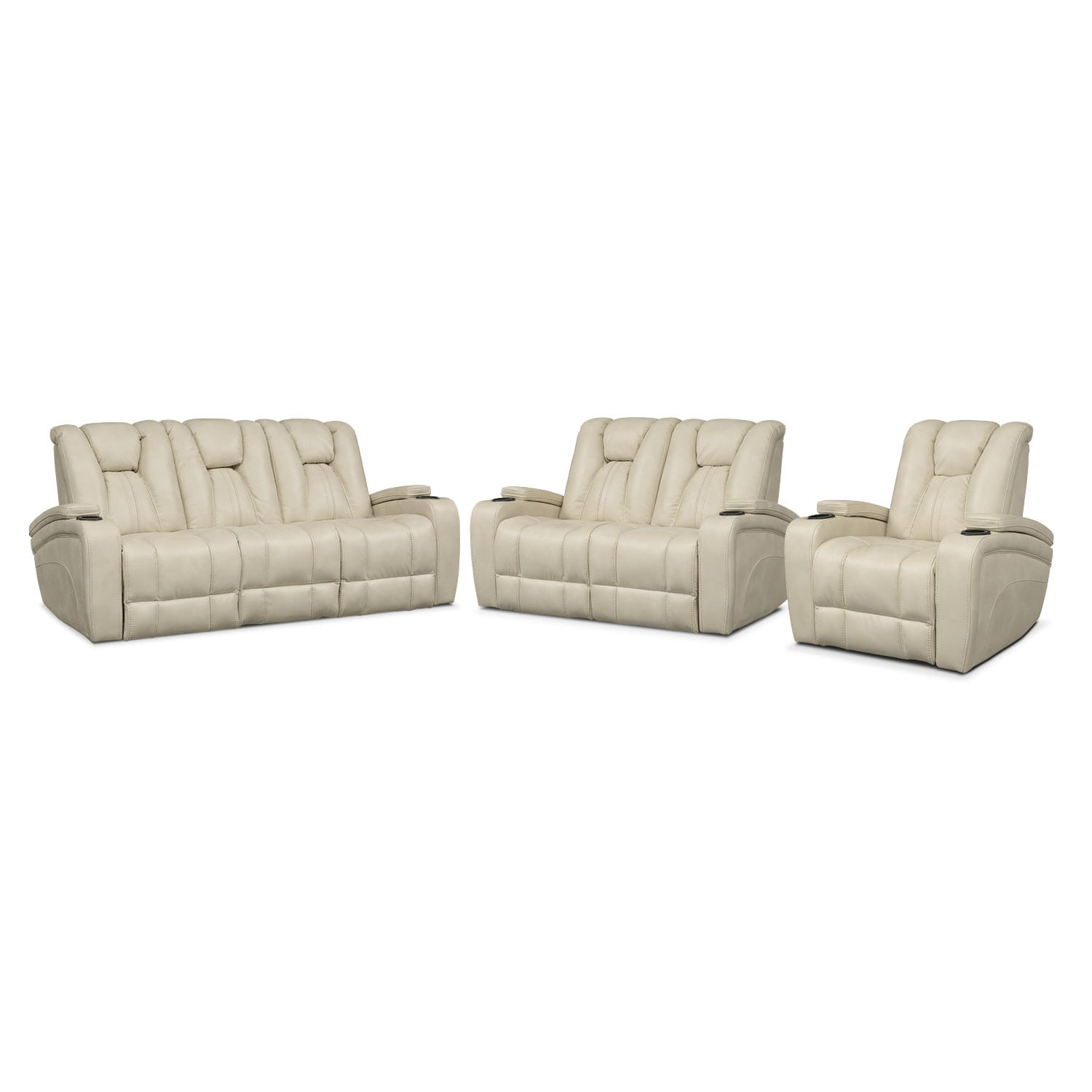 Pulsar Dual Power Reclining Sofa Dual Power Reclining Loveseat And Power Recliner Set Cream