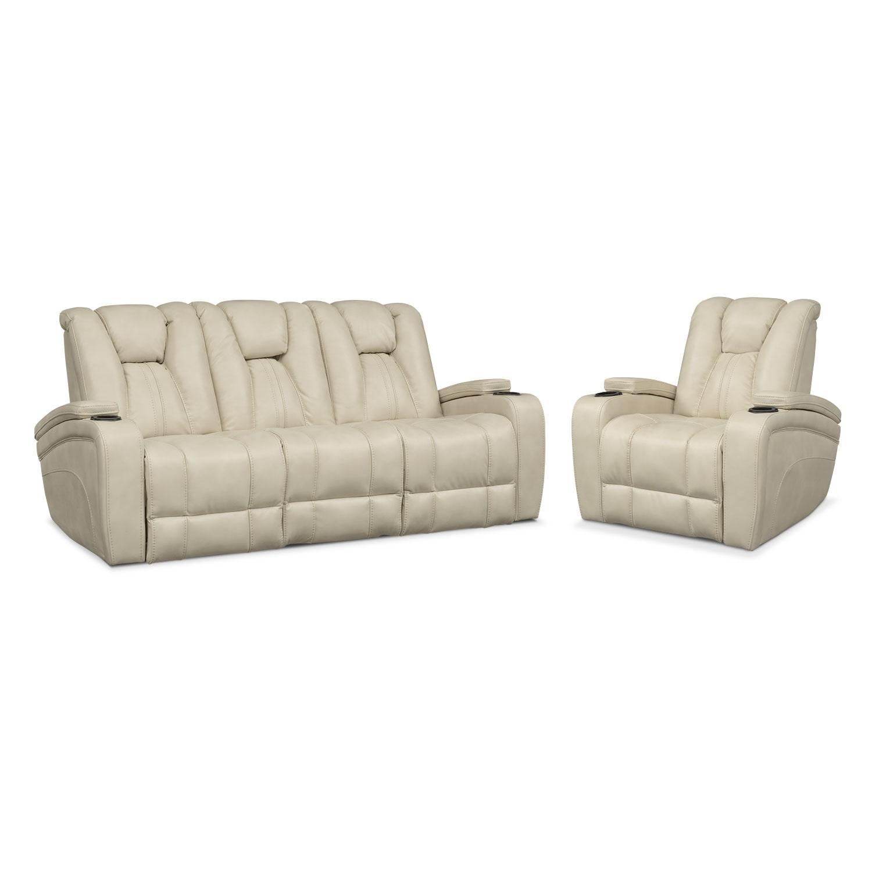 Living Room Furniture - Pulsar Dual Power Reclining Sofa and Power Recliner Set - Cream
