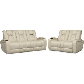 Pulsar Dual Power Reclining Sofa and Dual Power Reclining Loveseat Set - Cream