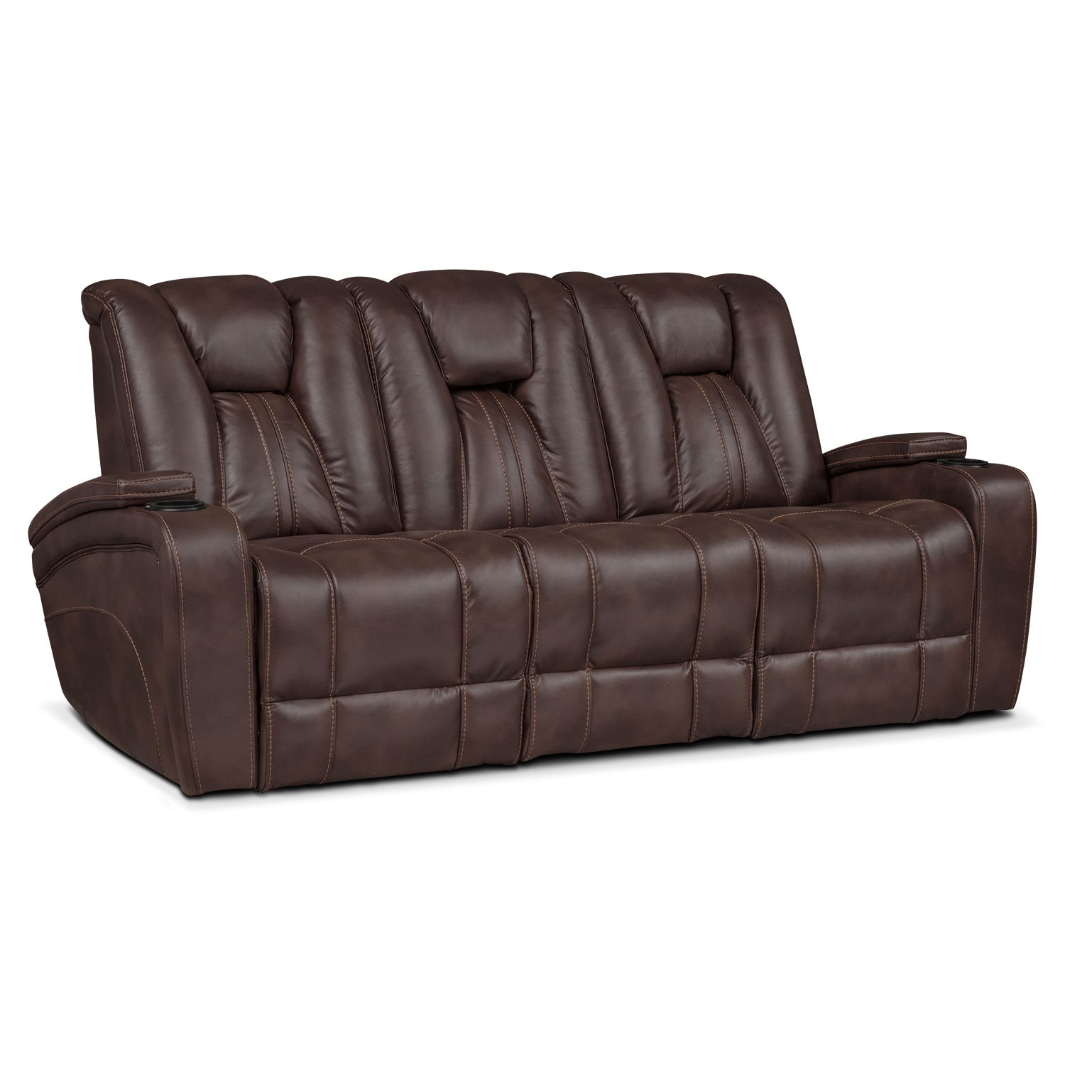 Dual Power Reclining Leather Sofa