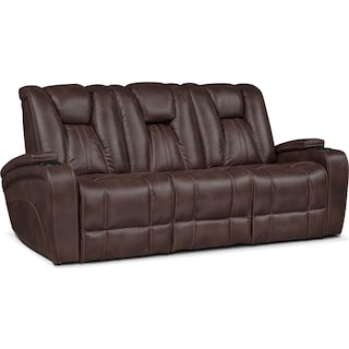 Pulsar Dual Power Reclining Sofa - Brown